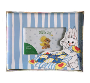 "Little Suzy's Zoo Lulla Bunny with Blanket Keepsake Baby Photo Frame for 4"" x 6"" Photo Blue Striped"