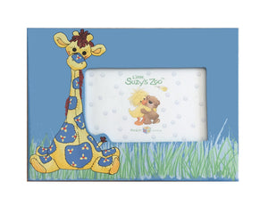 "Little Suzy's Zoo Patches Giraffe Blue Keepsake Baby Photo Frame for 4"" x 6"" Photo"