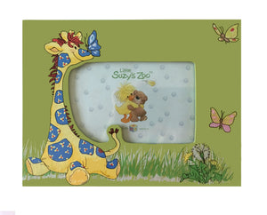 "Little Suzy's Zoo Patches Giraffe & Butterflies Green Keepsake Baby Photo Frame for 4"" x 6"" Photo"
