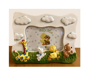 "Little Suzy's Zoo Running Baby Animals Duck Bear Giraffe Bunny Keepsake Photo Frame for 4"" x 6"" Photo"