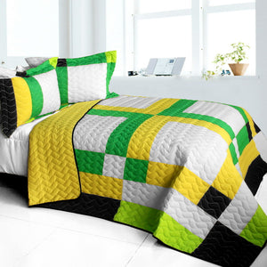 Black White Green Yellow Patchwork Teen Boy Bedding Full/Queen Quilt Set Geometric Bedspread