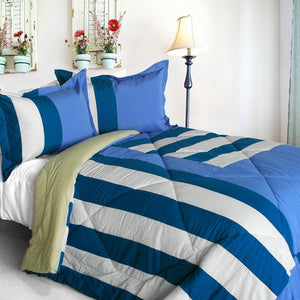 Blue White Striped Teen Boy Bedding Twin Full/Queen Modern Comforter Set