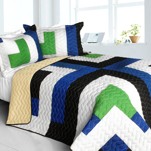 Blue Green White & Tan Striped Teen Bedding Full/Queen Quilt Set Modern Geometric Bedspread
