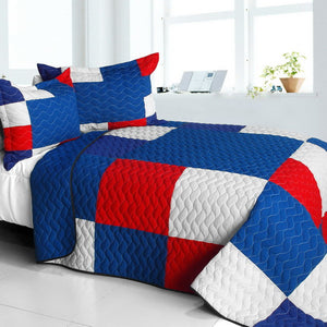 Blue Red & White Patchwork Teen Boy Bedding Full/Queen Modern Checkered Quilt Set