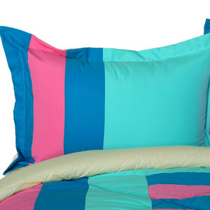 Blue Pink Turquoise Striped Teen Girl Bedding Twin Full/Queen King Modern Comforter Set