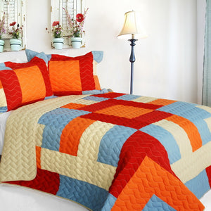 Red Orange Blue & Tan Geometric Teen Boy Bedding Full/Queen Quilt Set