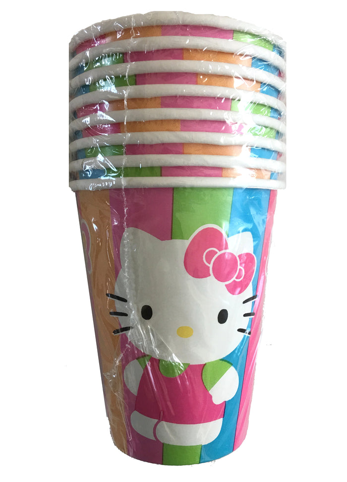 Hello Kitty Rainbow Stripe & Butterfly 9oz Hot/Cold Party Cups 8 CT
