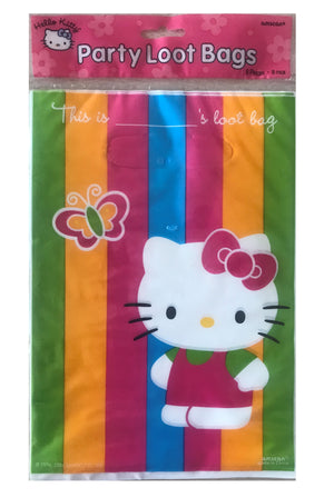 Hello Kitty & Butterfly Rainbow Stripe Party Loot Bags 8 CT