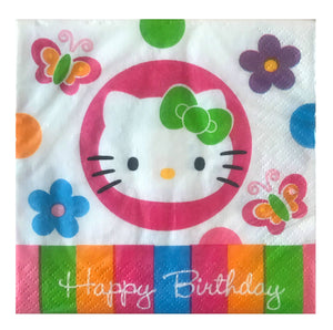Hello Kitty Happy Birthday Flowers & Butterflies Small Beverage Party Napkins 16 CT