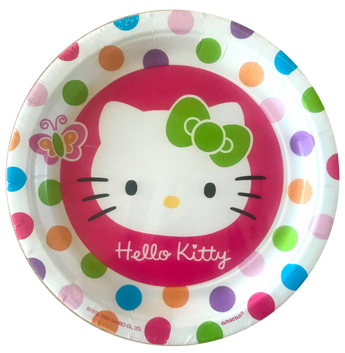 "Hello Kitty Polka Dot & Butterfly Large 9"" Dinner Party Paper Plates 8 CT"