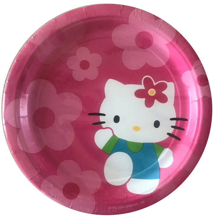 "Hello Kitty Flower Fun Pink Large 9"" Dinner Party Paper Plates 8 CT"