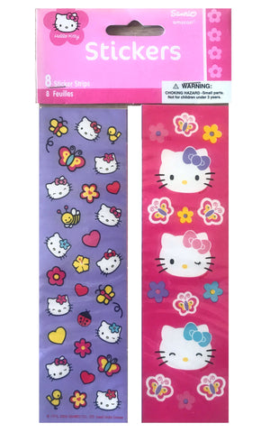 Hello Kitty Faces & Butterflies Stickers Party Gift Favors 8 Sheets