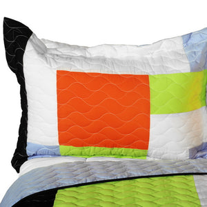 Geometric Orange Black Green Patchwork Teen Bedding Full/Queen Quilt Set - Pillow Sham