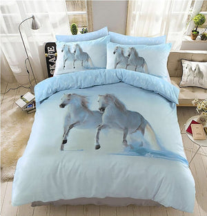 White Horses Bedding Duvet / Comforter Cover Set Twin Full Queen King Photo Print