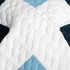 Black Navy Blue & White Patchwork Teen Boy Bedding Full/Queen Quilt Set Geometric Bedspread