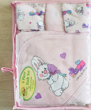 Little Suzy's Zoo Pink Baby 4pc Hooded Towel & Washcloth Set Lulla Bunny