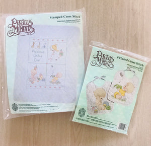 Precious Moments 2-PC Set Counted Cross Stitch Baby Nursery Crib Quilt & 2 Bibs Kits 'Precious Little One' Keepsake