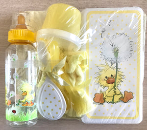 Little Suzy's Zoo 11pc Baby Shower Gift Set -  Diaper Bag, Bottle, Comb & Brush, Feeding Set, Changing Pad