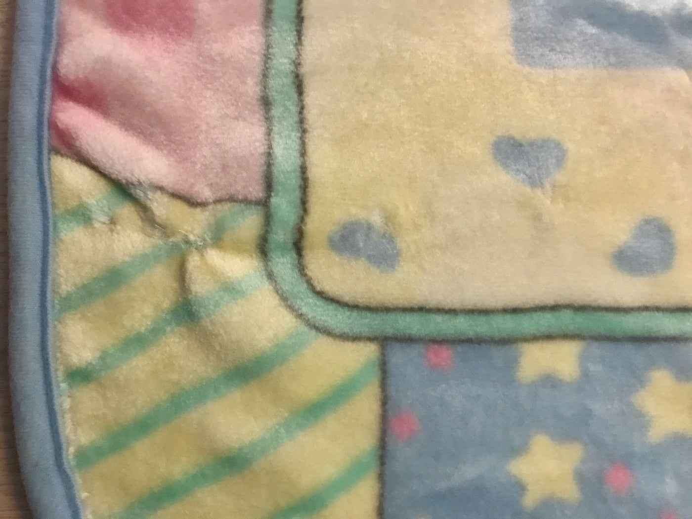 Precious Moments Bed Sheet Fabric Textile Twin Cute Colorful 1980s Squares Green Blue Children Bedtime ~ The Pink Room ~ 170826C