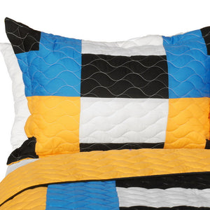Blue Black White & Yellow Geometric Teen Bedding Full/Queen Quilt Set - Pillow Sham