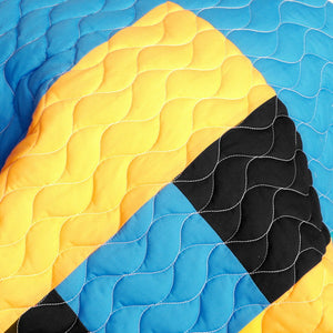 Blue Black White & Yellow Geometric Teen Bedding Full/Queen Quilt Set - Detail