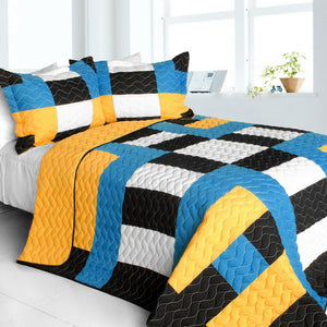 Blue Black White & Yellow Geometric Teen Bedding Full/Queen Quilt Set Patchwork Colorblock Bedspread