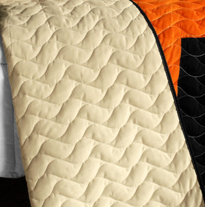 Black Tan Orange & Green Teen Bedding Full/Queen Quilt Set - Back