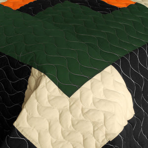 Black Tan Orange & Green Teen Bedding Full/Queen Quilt Set - Detail