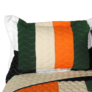 Modern Black White Orange & Red Teen Bedding Full/Queen Quilt Set - Pillow Sham