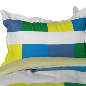 Blue Green Yellow White Geometric Striped Teen Boy Bedding Twin Full/Queen King Modern Comforter Sets