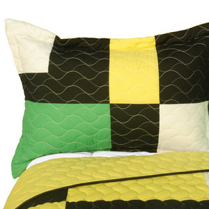 Black White Green Yellow Geometric Teen Bedding Full/Queen Quilt Set - Pillow sham