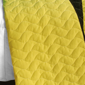 Black White Green Yellow Geometric Teen Bedding Full/Queen Quilt Set - Back