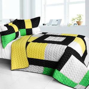 Black White Green Yellow Geometric Teen Bedding Full/Queen Quilt Set Patchwork Bedspread