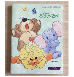 "Little Suzy's Zoo Sage Green School Composition Notebook - Witzy Duck Boof Bear Ellie Elephant 6"" x 7 3/4"""