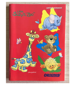 "Little Suzy's Zoo Red School Composition Notebook - Patches Giraffe Ellie Elephant Boof Bear Witzy Duck 6"" x 7 3/4"""
