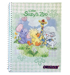 "Little Suzy's Zoo Green Witzy's Wish Spiral Composition School Notebook 6"" x 7 3/4"" - Duck Elephant Giraffe Bunny"