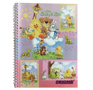 "Little Suzy's Zoo Pink Witzy's Wish Spiral Composition School Notebook 6"" x 7 3/4"" - Duck Bear Bunny Giraffe"