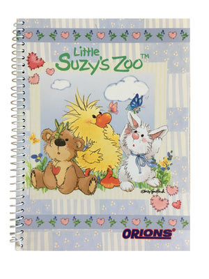 "Little Suzy's Zoo Lavender Witzy's Hearts Spiral Composition School Notebook 6"" x 7 3/4"" - Duck Bear Bunny"