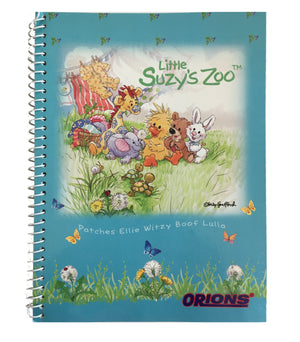 "Little Suzy's Zoo Teal Witzy's Meadow Spiral Composition School Notebook 6"" x 7 3/4"" - Duck Bear Bunny Giraffe"