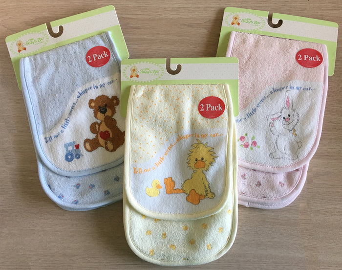 Little Suzy's Zoo Baby Burp Cloths 2-Pack 2-Ply Yellow Duck, Blue Bear, Pink Bunny