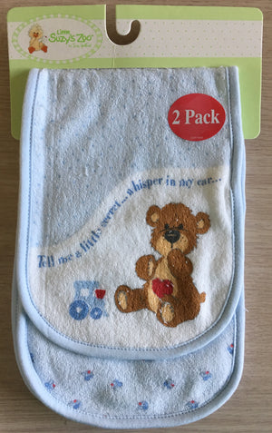 Little Suzy's Zoo Blue Boof Bear Burp Cloth 2-Pack