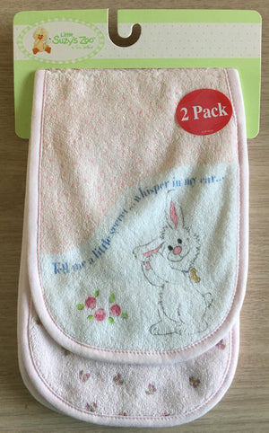 Little Suzy's Zoo Pink Lulla Bunny Burp Cloth 2-Pack