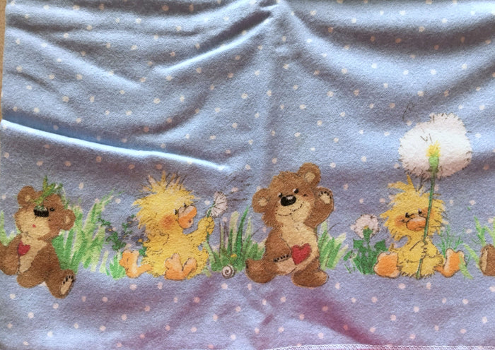 "Little Suzy's Zoo Baby Receiving Blanket Blue Cotton Flannel  30"" x 40"" - Duck & Bear"