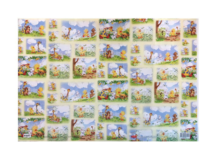 Little Suzy's Zoo Wish Party Gift Wrapping Paper - Baby Witzy Duck Boof Bear Lulla Bunny Patches Giraffe