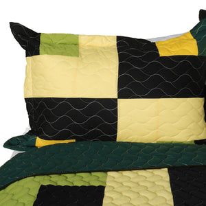 Green Black Yellow Checkered Teen Boy Bedding Full/Queen Quilt Set - Pillow Sham