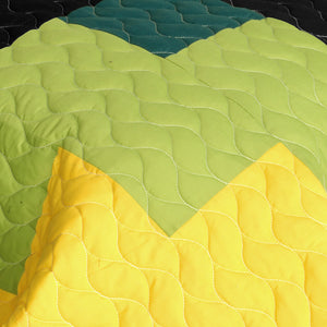 Green Black Yellow Checkered Teen Boy Bedding Full/Queen Quilt Set - Detail