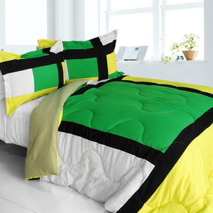 Green Black Yellow & White Geometric Blocks Teen Boy Bedding Twin Full/Queen Modern Comforter Set