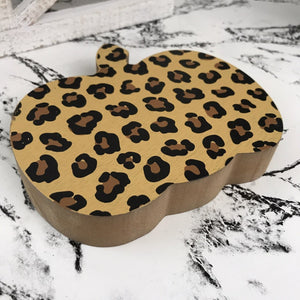 Leopard Animal Print Fall Decor Plush Pumpkins & Signs