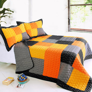 Black Orange Grey Patchwork Teen Boy Bedding Full/Queen Quilt Set Colorblock Bedspread