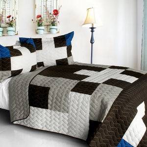 Black White Grey Patchwork Teen Boy Bedding Full/Queen Quilt Set Bedspread